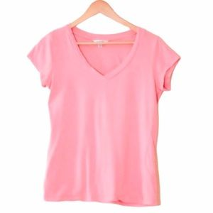Salmon Pink V-Neck Short Sleeve Tee Shirt